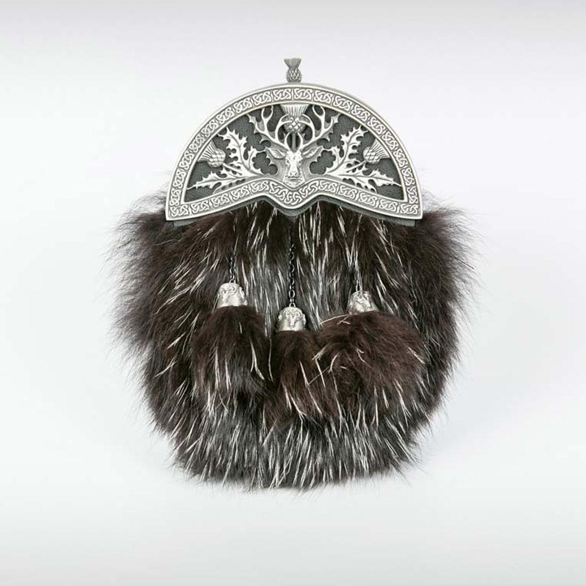 Black Fox Thistle & Stag Sporran