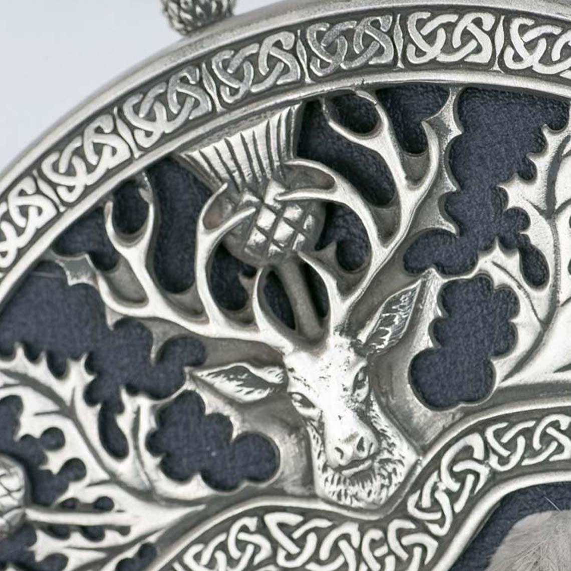 Silver Mink Thistle & Stag Sporran
