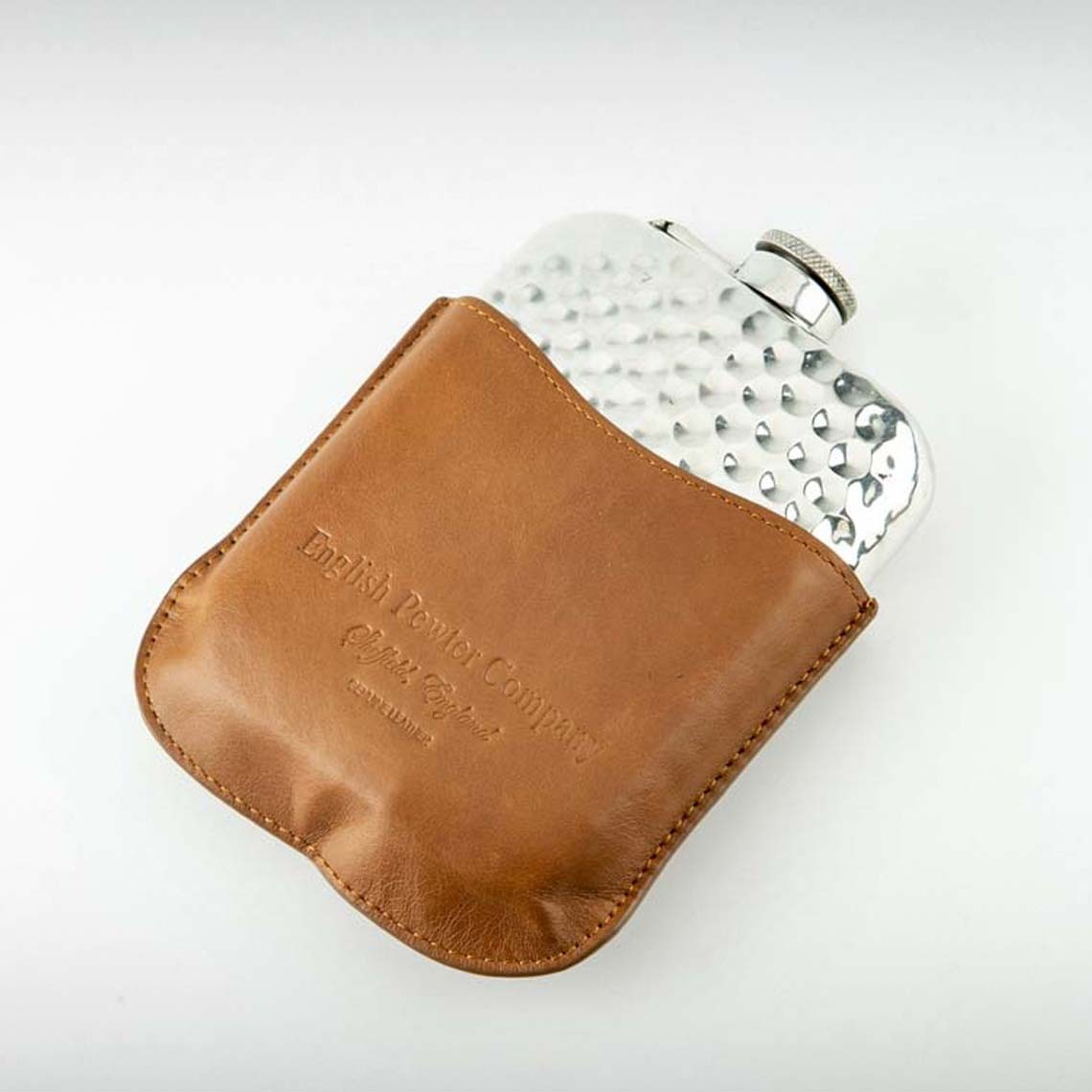 Hammered Hip Flask & Leather Pouch