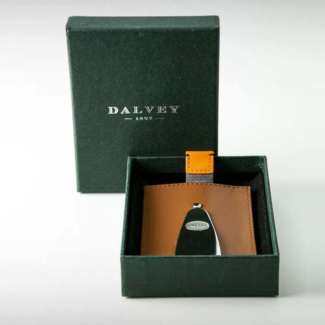 Dalvey Brown Money Clip & Card Holder with Tab