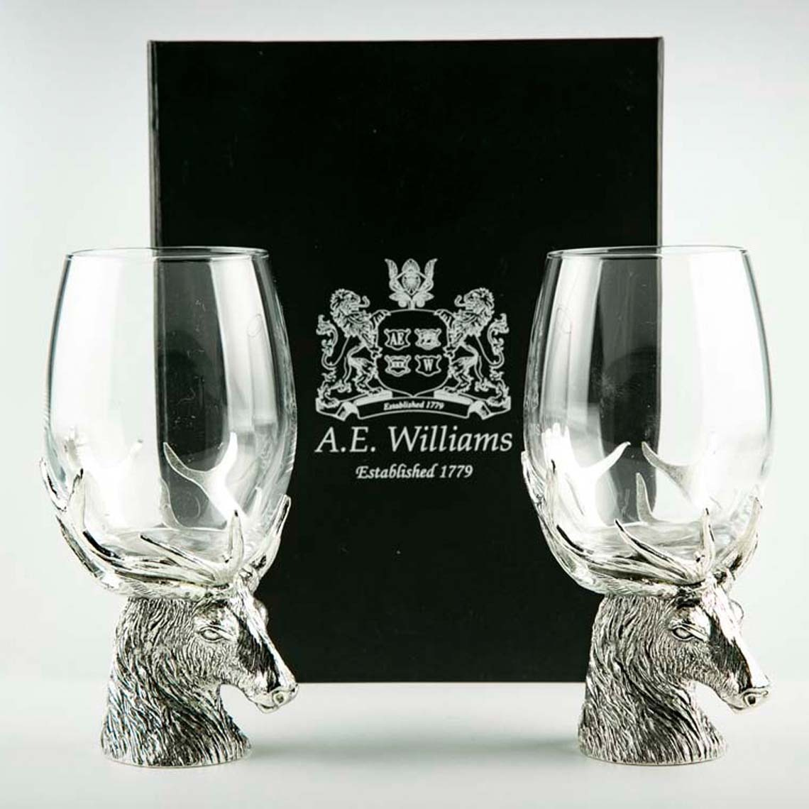 Stag Wine Glasses Pair