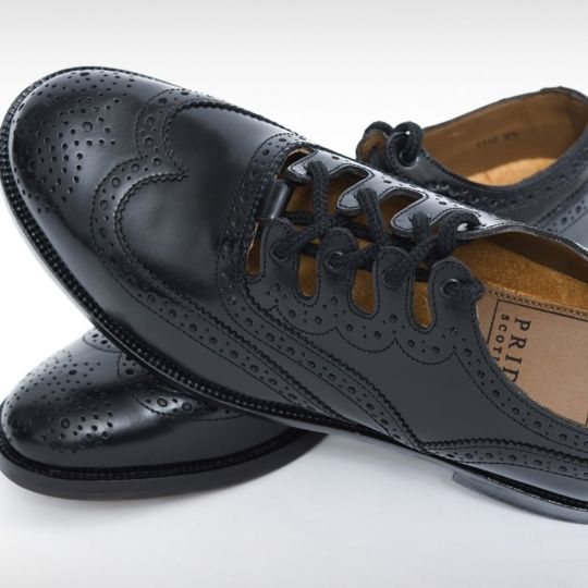 Pride Black Leather Ghillie Brogue