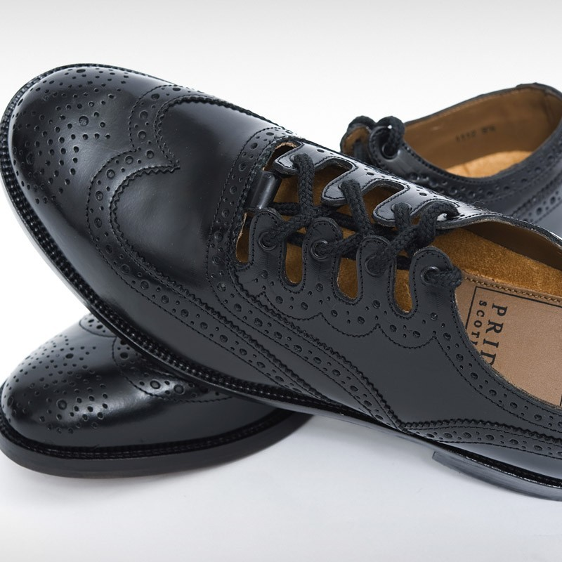 Pride Black Leather Ghillie Brogue
