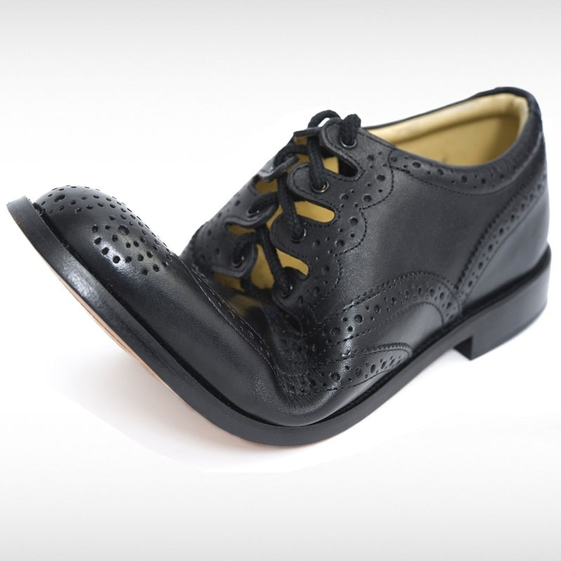 Black Leather Ghillie Brogue