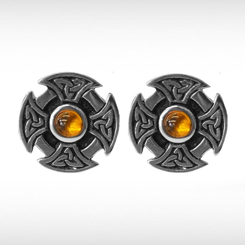 Celtic Cufflinks with Orange Stone