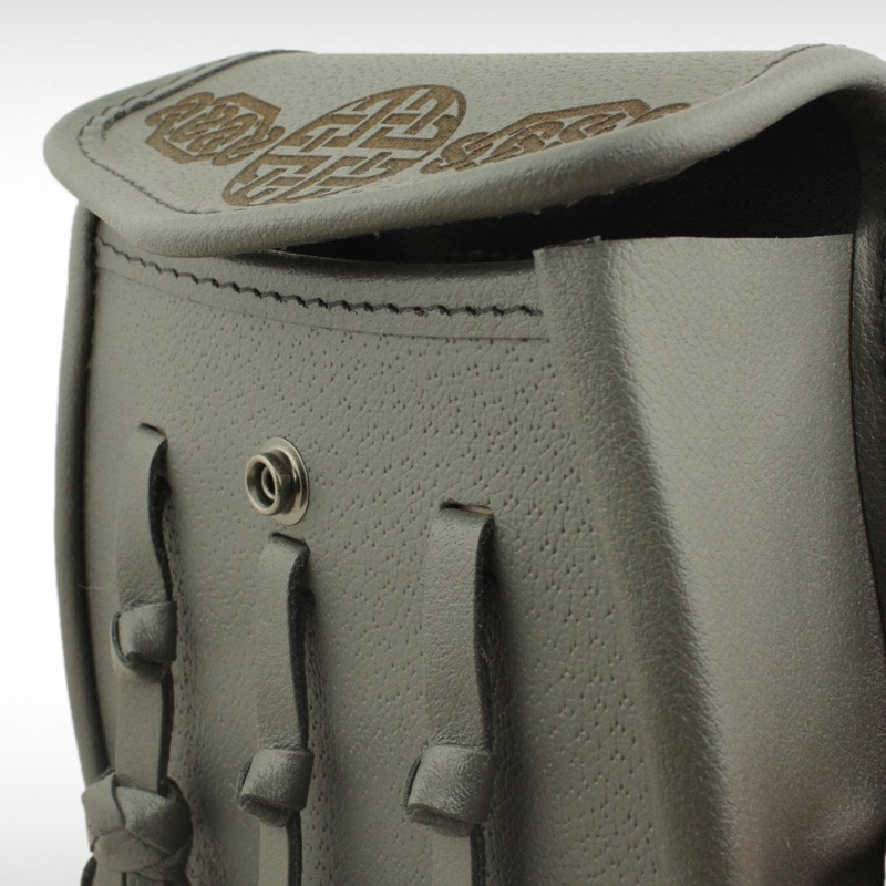 Celtic Embossed Grey Leather Sporran