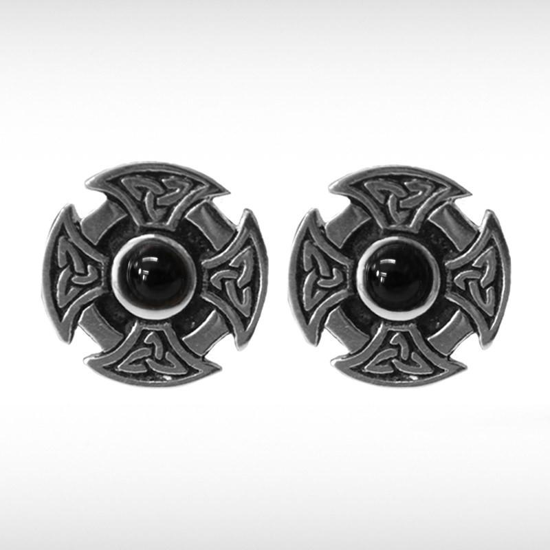Celtic Cufflinks with Black Stone