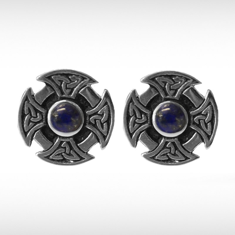 Celtic Cufflinks with Blue Stone