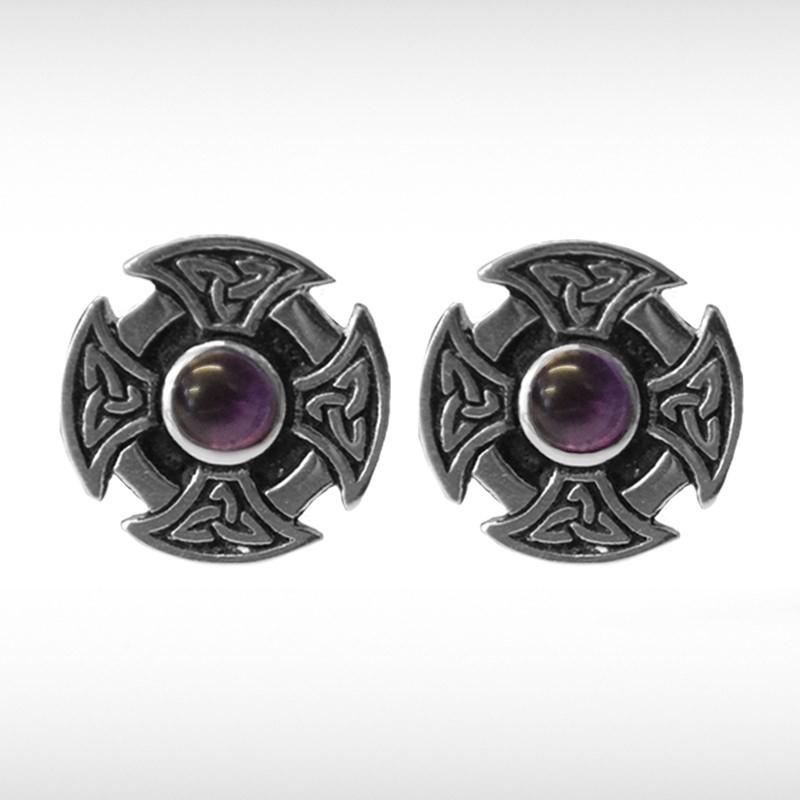 Celtic Cufflinks with Purple Stone