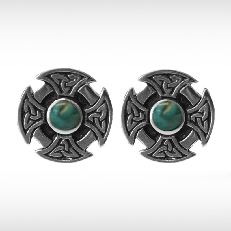 Celtic Cufflinks with Turquoise Stone