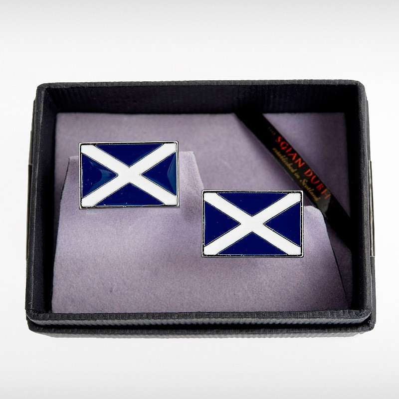 Enameled Saltire Cufflinks