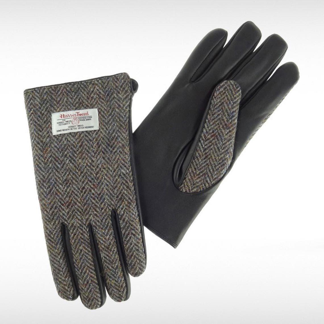 Harris Tweed Brown Herringbone Gents Gloves