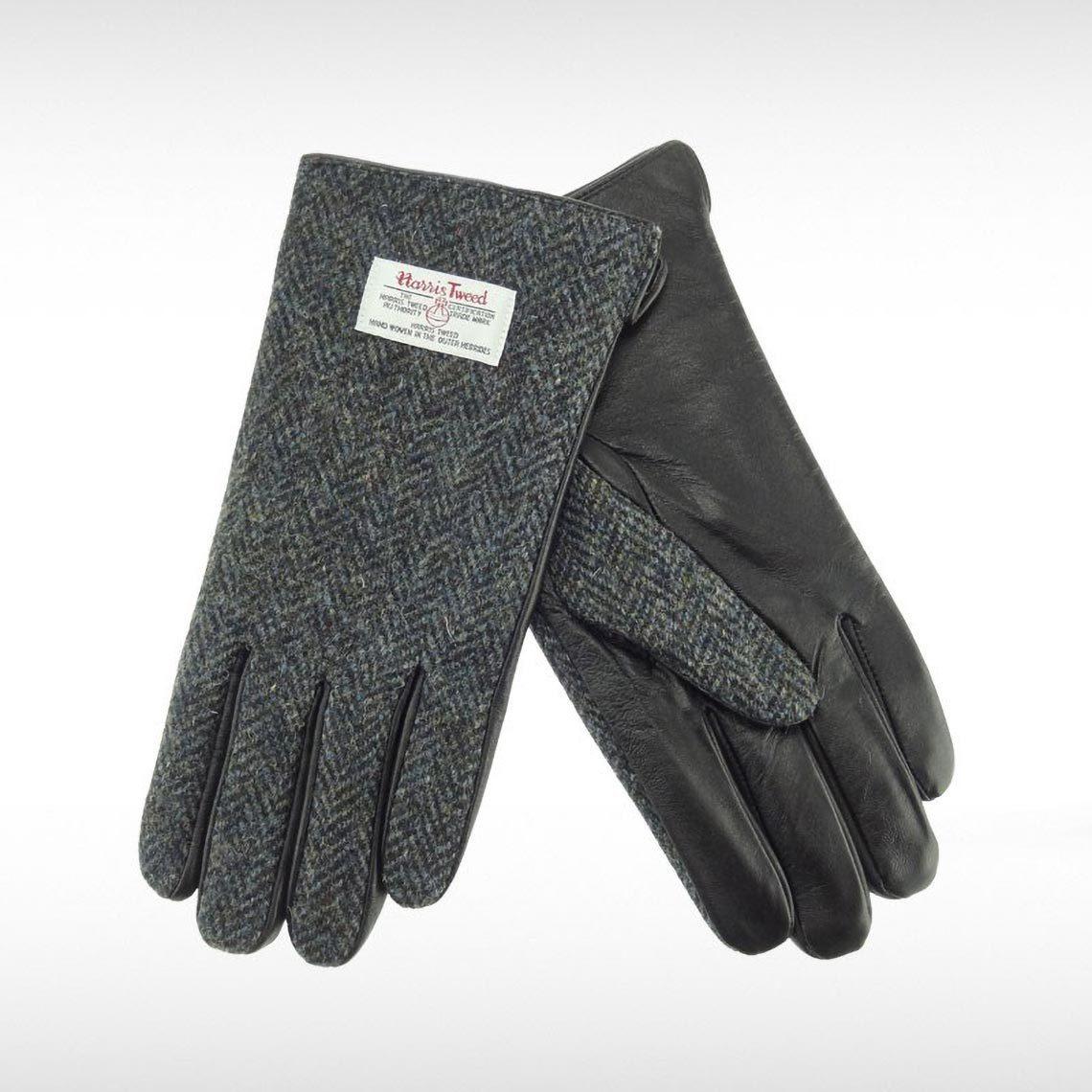 Harris Tweed Charcoal Herringbone Gents Gloves