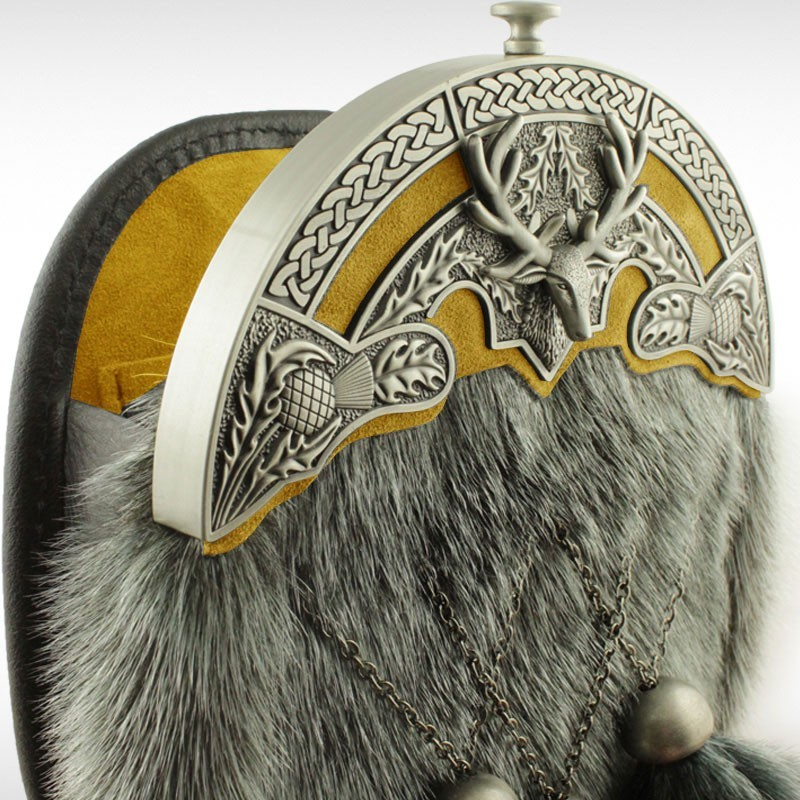 Sealskin Stag and Thistle Sporran