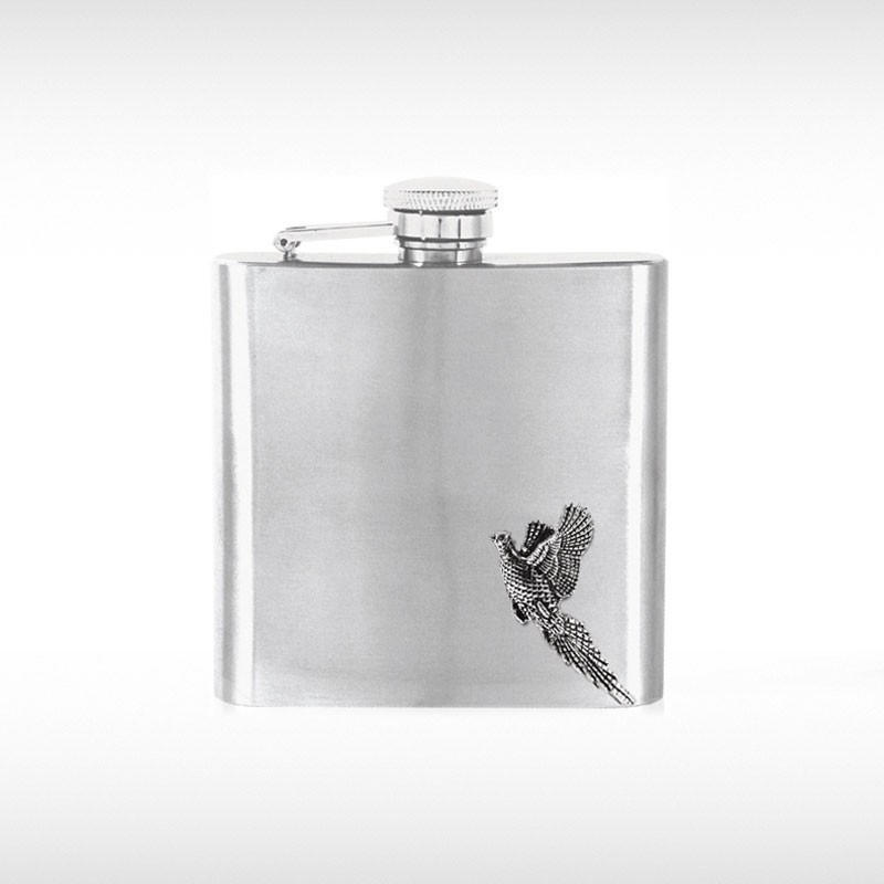 Pheasant Badge Hip Flask