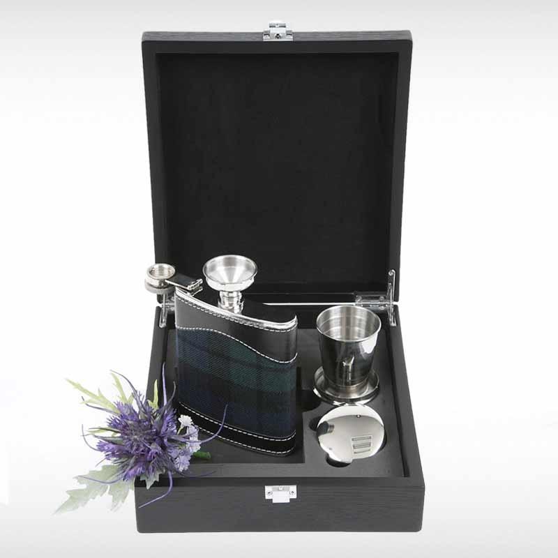 Black Watch Hip Flask Set