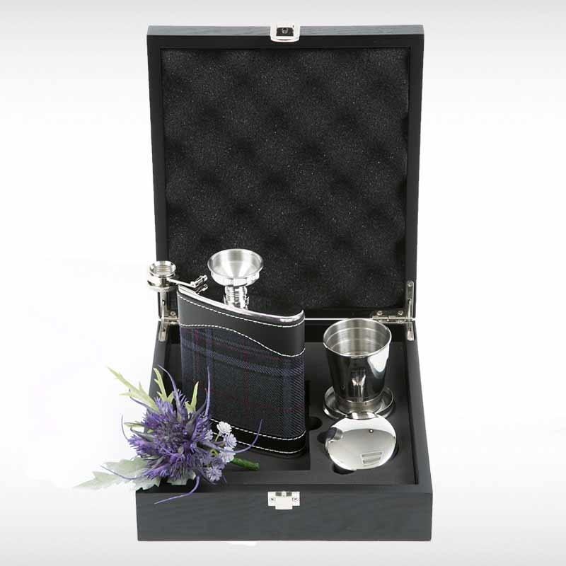 Grey Stewart Hip Flask Set
