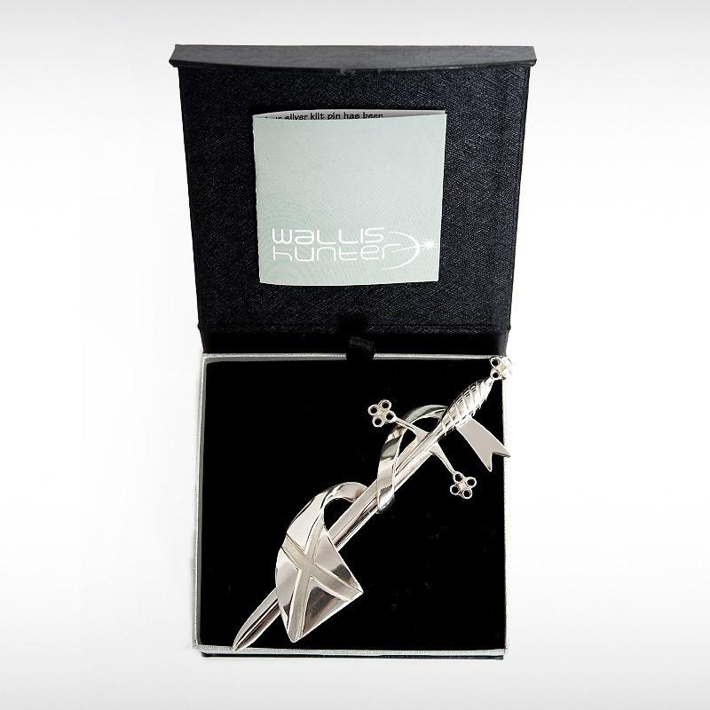 Saltire Banner & Sword Kilt Pin