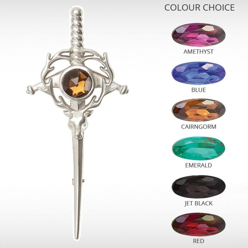 Stag & Sword Kilt Pin