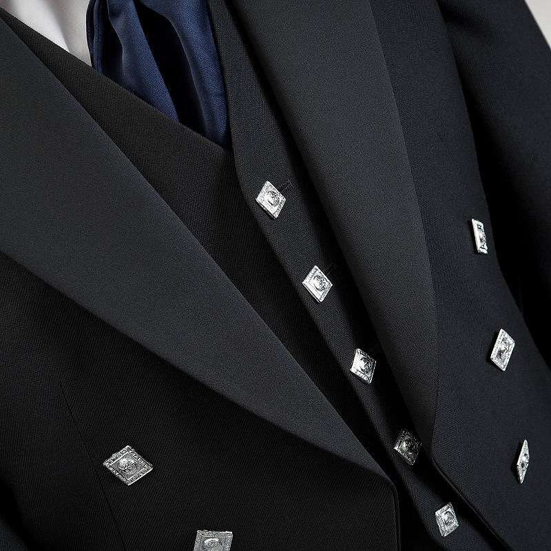 Black Prince Charlie Modern Jacket & Waistcoat