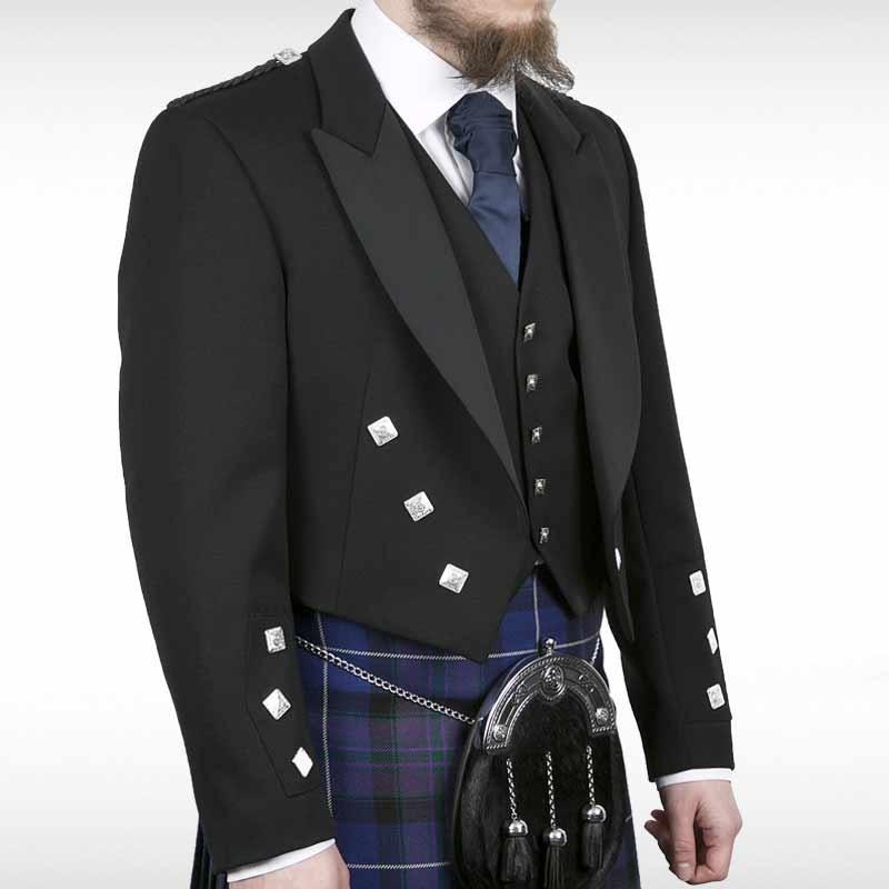 Black Blackmoore Prince Charlie Jacket & Waistcoat