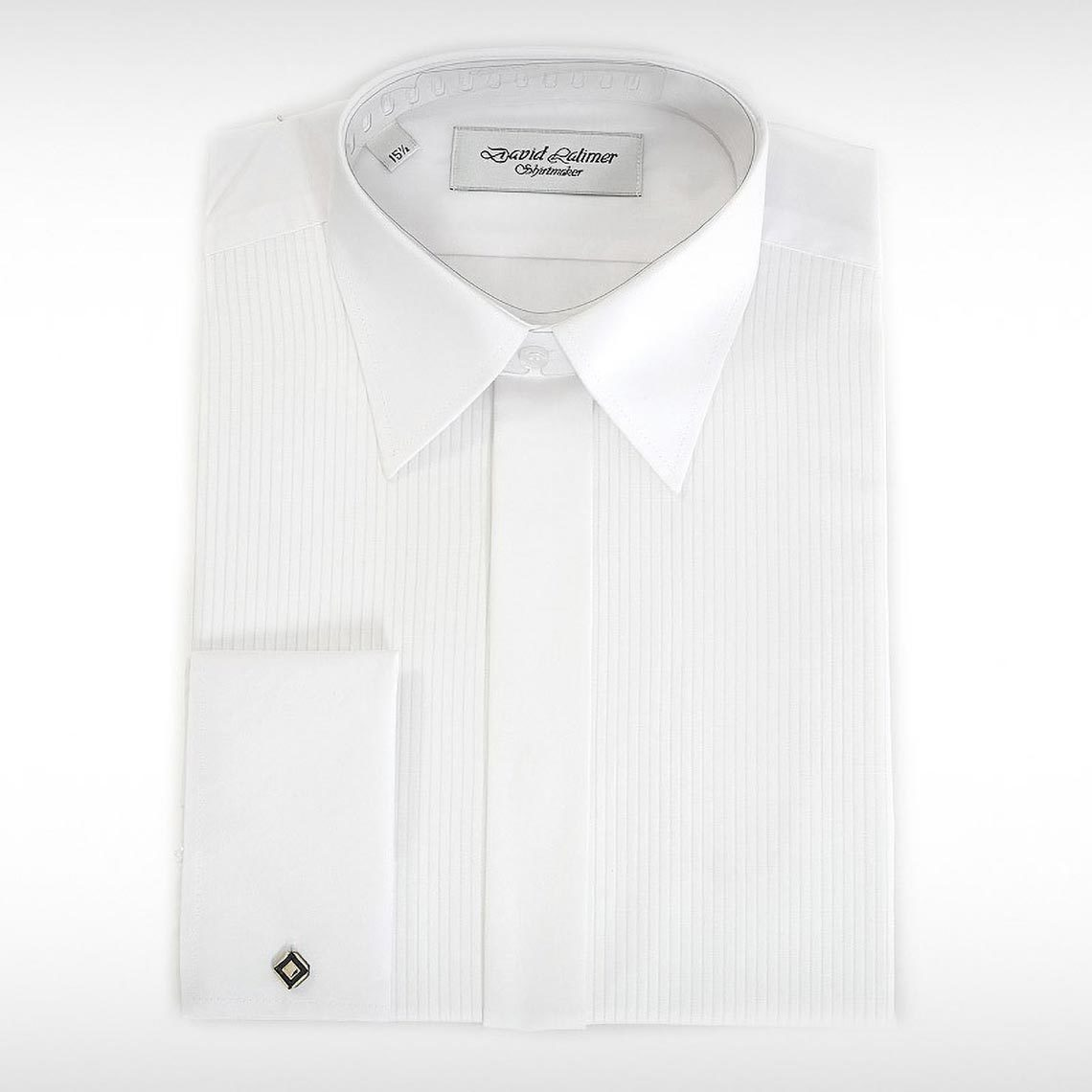White Mock Pleat Front Shirt