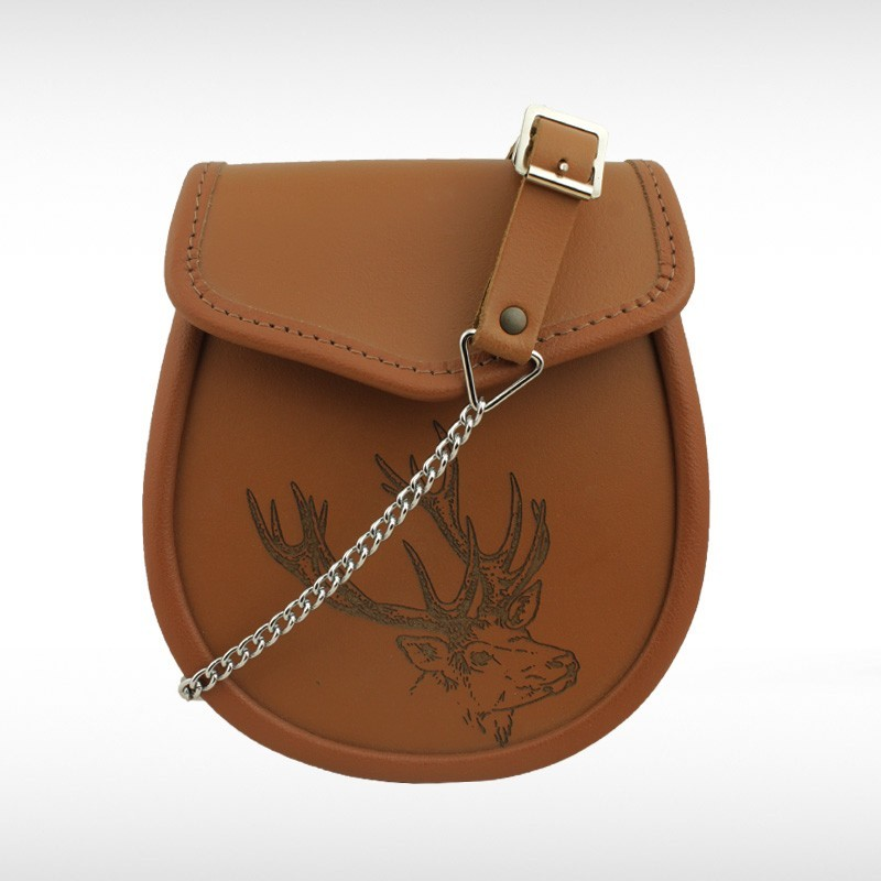 Stag Embossed Tan Leather Sporran