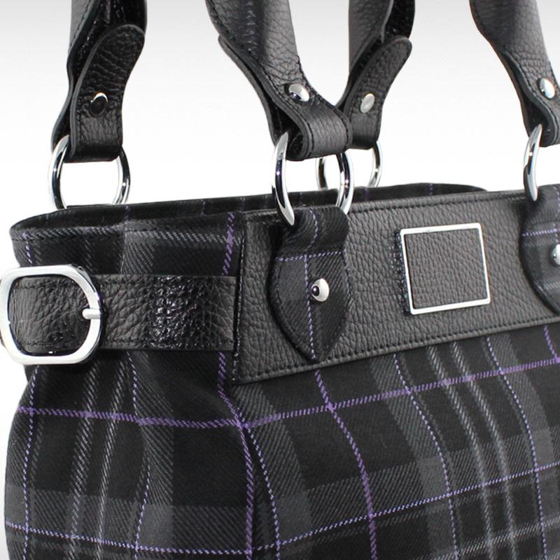 Tartan Handbag with Leather Detail - Platinum Pride (Sarah)