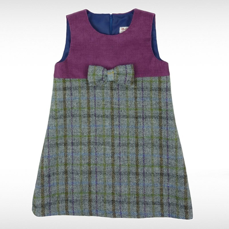 Grey & Purple Harris Tweed Pinafore Dress